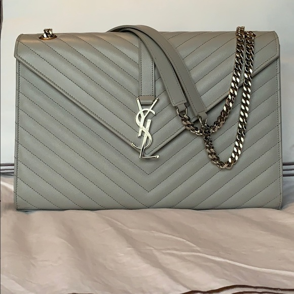 8512b6b89d YSL SAINT LAURENT PARIS grey leather chevron bag